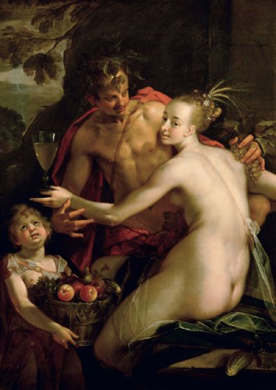 Aachen, Hans von: Bacchus, Ceres and Amor. Fine Art Print/Poster. Sizes: A4/A3/A2/A1 (002048)